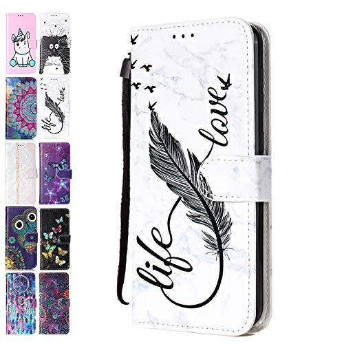 Ancase Handyhülle für Samsung Galaxy S6 Edge Hülle Marmor Feder Muster Lederhülle Flip Hülle Cover Schutzhülle mit Kartenfach Ledertasche für Mädchen Damen