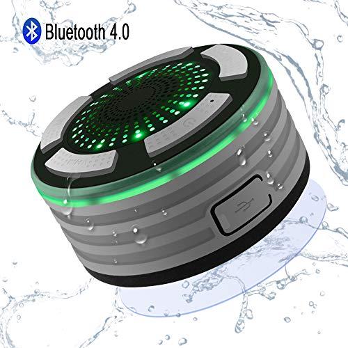 Altavoz Bluetooth Ducha Inalámbrico Impermeable IPX7, Alitoo Altavoz Portátil con Luces de Humor LED, Ventosa, Micrófono Incorporado, Radio FM, Manos Libres para Android, Baño, Cocina, Coche
