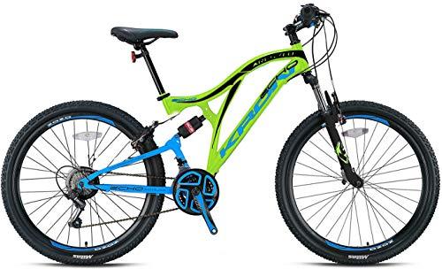 KRON ARES 4.0 Fully Mountainbike 27.5 Zoll | 21 Gang Shimano Kettenschaltung mit V-Bremse | 16.5 Zoll Rahmen Vollgefedert MTB Erwachsenen- und Jugendfahrrad | Grün Blau