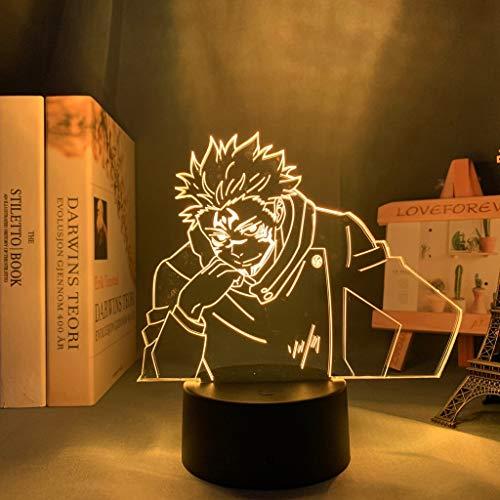 Lámpara de anime Yuji Itadori Jujutsu Kaisen Luz de noche LED para regalo de cumpleaños Jujutsu Kaisen Yuji Itadori Lámpara Envío directo, 7 colores sin control remoto