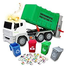 RACPNEL Garbage Truck Toy,Waste Management Recycling Truck Toy with 4 Trash Cans, 40 Garbage Sorting Cards, Lights & Sounds,Educational Toys and Gift for Toddlers, Kids, Boys & Girls Age 3 4 5 6+