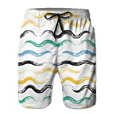 Photo de Men's Summer Beach Trunks Black Green Yellow Stripes Wriggles Pattern Drawstring Elastic Waist Quick Dry Swimming Shorts Swimwear,Breathable Quick-drying Swim Trunks Beach Shorts Board Shorts L