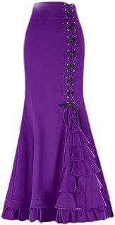 Women Gothic Ruffled Steampunk Mermaid Skirt Victorian High Waist Retro Maxi Skirt