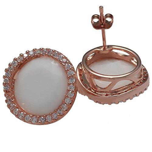 Judith Williams Damen Ohrstecker rosegold rund mit Kristalle weiß 19,5 mm