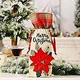 1 unid Navidad botella de vino tinto cubre bolsa de lino vacaciones celosía coche champán botella cubierta Navidad decoraciones para el hogar