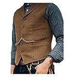 Lovee Tux Herringbone Weste Formale Business Notch Revers Männer Anzug Weste Wolle/Tweed Weste für Hochzeit(M,Braun)