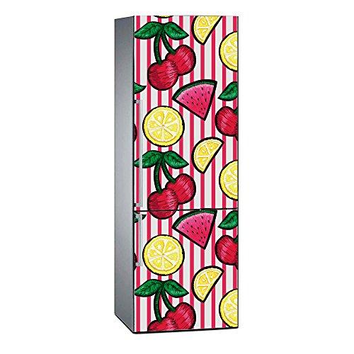 Oedim - Vinilo para Frigorífico Impresión Digital Impresión Digital Cerezas Limón Sandía 200x60cm   Adhesivo Resistente y Económico   Pegatina Adhesiva Decorativa de Diseño Elegante