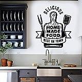 Tabla de cortar Comida casera Deliciosas herramientas de cocina Cocina Restaurante Logotipo Signo Etiqueta de la pared Vinilo Arte Calcomanía Sala de estar Comedor Decoración para el hogar Mural