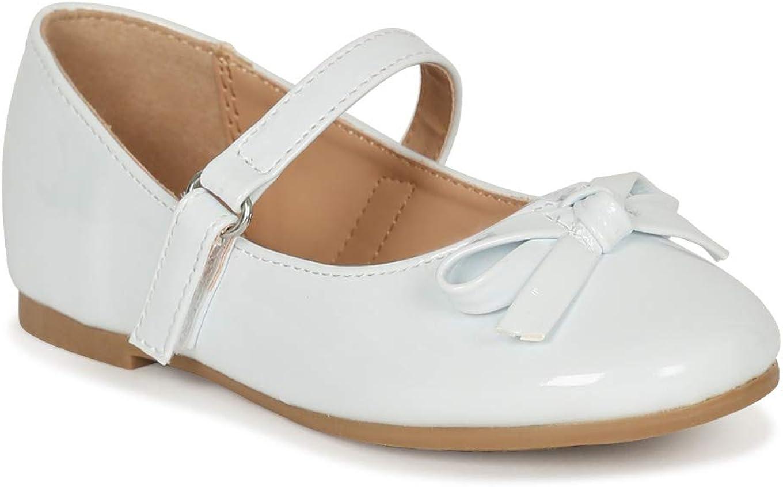 Alrisco Little/Big Girls Bow Tie Mary Jane Ballerina Flat SG43 - White Patent (Size: 13 Little Kid)