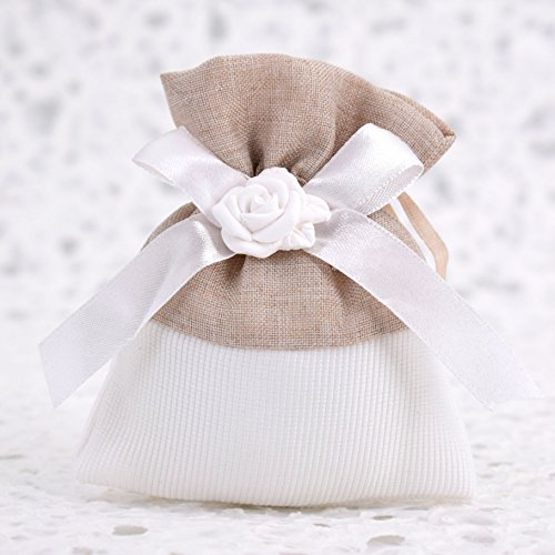 Fai da Te 20 Sacchetti Porta Confetti Bianchi con Rosa in Gesso - per Battesimo - Comunione - Cresima - 18 Anni - Compleanno (Beige) - Bigliettini in Omaggio
