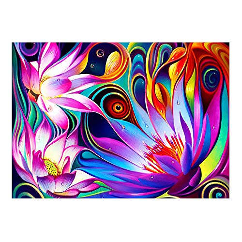 ufengke Abstract Lotus 5D Diamond Painting Kits by Numbers Full Drill Diamond Embroidery Cross Stitch Mosaic Making, 25 35cm Design