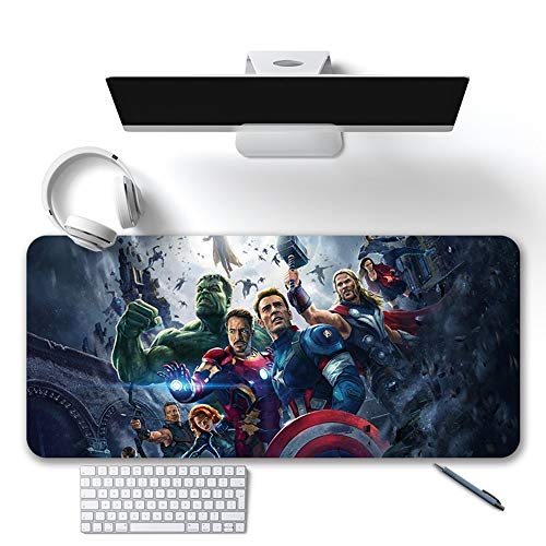 Mouse Pads Marvel DC Series, Oversized Iron Man Avengers Captain America Desk Pad, Non-Slip Waterproof Rubber Base, Stitched Edges (Color : A, Size : 400X900X3mm)