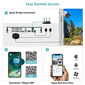 【H.265+】 DEFEWAY 5MP Security Camera System, 8CH Wired DVR Recorder with 2TB HDD, 8X 5MP(2560TVL) Indoor Outdoor IP66 Weatherproof CCTV Surveillance Cameras,Night Vision,Remote Access