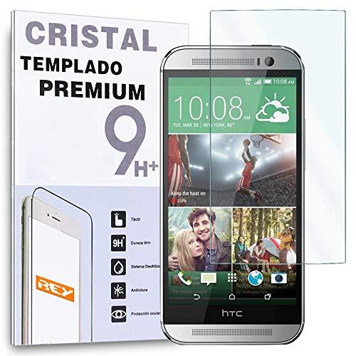 REY Protector de Pantalla para HTC One M8 Cristal Vidrio Templado Premium