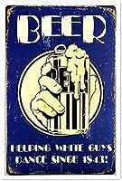男が踊るのを助けるビールブリキの看板壁の装飾金属ポスターレトロなプラーク警告看板オフィスカフェクラブバーの工芸品