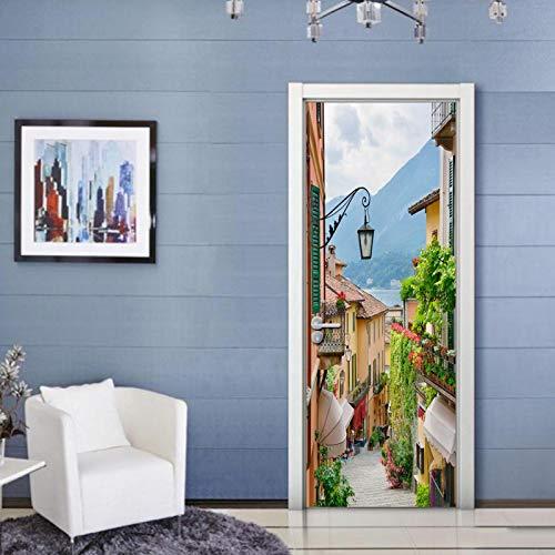 ZOOINB Etiqueta De Vinilo Mural De Puerta 3D Barra De Bar Clásica Mural Pegatinas De Pared Autoadhesivo Impermeable Removible Arte Papel Pintado para Niños Sala De Estar Dormitorio 77X200Cm