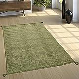 Paco Home Alfombra Diseño Kilim Tejida A Mano 100% Algodón Moderna Jaspeada Verde, tamaño:80x150 cm