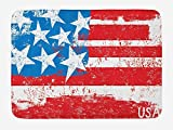PdGAmats American Flag Bath Mat, Culture Flag Solidarity of USA Stars Inspiration Retro Royalty Vintage Art 23.6 W X 15.7 W Inches