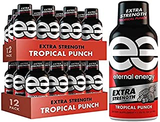 Eternal Energy® Shot - Extra Strength – Tropical Punch – 24 Pack - Best Tasting Energy Shot - Zero Sugar, Keto-Friendly, No Crash