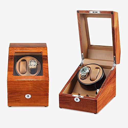 Caja Giratoria para Relojes Mira enrolladores para 2 Relojes 3 Relojes con Almohadas de Cuero Motor silencioso 5 Modos de rotación Caja de Almacenamiento de Reloj (Color : A)