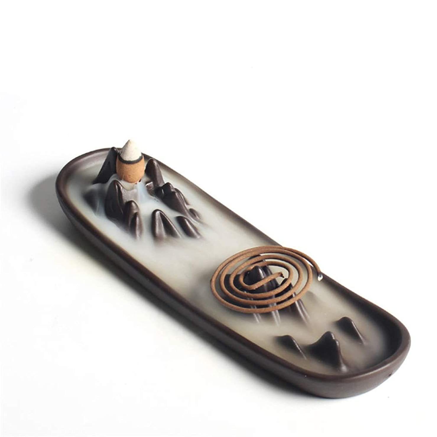母性イブ不公平ホームアロマバーナー 逆流香バーナー家の装飾セラミックアロマセラピー仏教の滝香炉香コイルスティックホルダー 芳香器アロマバーナー (Color : A)