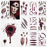 SZILBZ Temporäre Tattoos ,Halloween Zombie Narben Tattoos Aufkleber mit gefälschten Schorf Blut spezielle Fx Körper Make-up Requisiten -11 Blatt