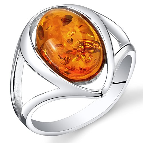 Peora Genuine Baltic Amber Ring for Women in Sterling Silver, Rich Cognac Color, Oval Shape Solitaire, Comfort Fit, Size 6 Comfort Fit Solitaire Setting