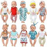 ZITA ELEMENT 10 Set Vêtements De Poupée Vêtements Accessoires pour 35-46cm Baby Doll Vêtements De Poupée Onesies pour 43cm Vêtements De Poupée Américaine 16-18 Pouces - Xmas Gift