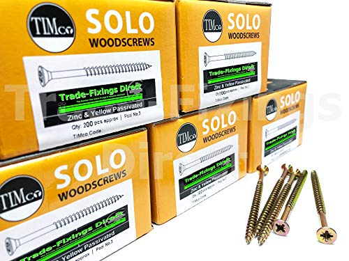 "Paquete de 1000-5.0 x 70 mm (10 x 2 3/4"") Tornillo de madera individual profesional de Timco Pozi Countersunk"