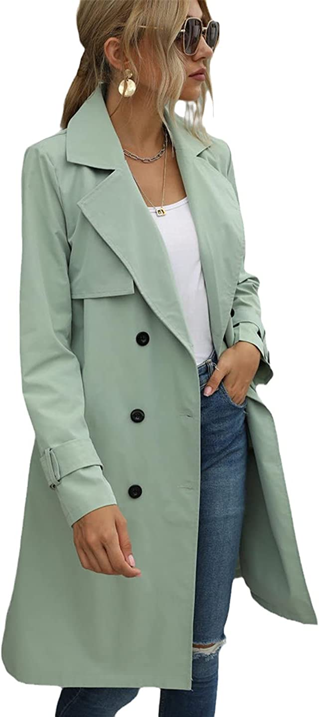 Ciystekn Women Casual Solid Color Coat Adults Autumn Long Sleeve Lapel Neckdouble Breasted Belted Trench Coat