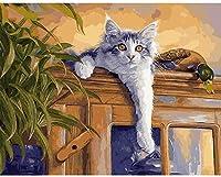 番号によるDiyペイントデジタル油絵キット猫のアヒル大人のデジタル油絵クリエイティブ初心者子供デジタル油絵
