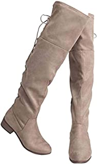 Carmel Knee High - Suede Lace Up Closed Toe Low Heel Knee High Boot