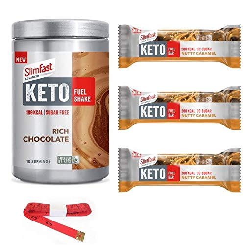 Slim Fast Advanced Keto Fuel Chocolate Shake 350g And 3 Nutty Caramel Bars Weightloss Bundle With Tape Measure Nutritionally Balanced Diet For A Keto Lifestyle Made With Selected Fueled Ingredients