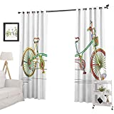YUAZHOQI - Tende oscuranti per camera da letto, motivo bicicletta tandem colorato su sfondo bianco con stampa a clipart stile tendaggi per soggiorno, camera da letto, 132 x 274 cm, multicolore