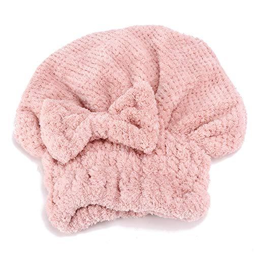Enveloppement de Serviette de Cheveux, Serviette de Séchage de Cheveux en Molleton de Corail Séchage Rapide Envelopper le Chapeau de Cheveux épaissir la Tête élastique Chapeau de Séchage