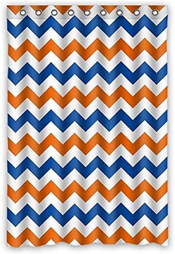 Navy Deep Blue Orange Chevron Polyester Fabric Shower Curtain