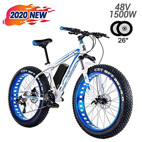 LYIETUR Fat Tire E-Bike Electric Mountain Bike 26'' 48v 1500w 27 Speeds Beach Mens Sports Mountain Bike Full Suspension Lithium Battery Hydraulic Disc Brakes White and Blue