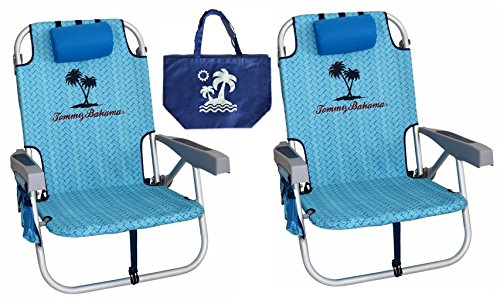 Tommy Bahama 2 Backpack Beach Chairs 2016/ Light Blue + 1 Medium Tote Bag