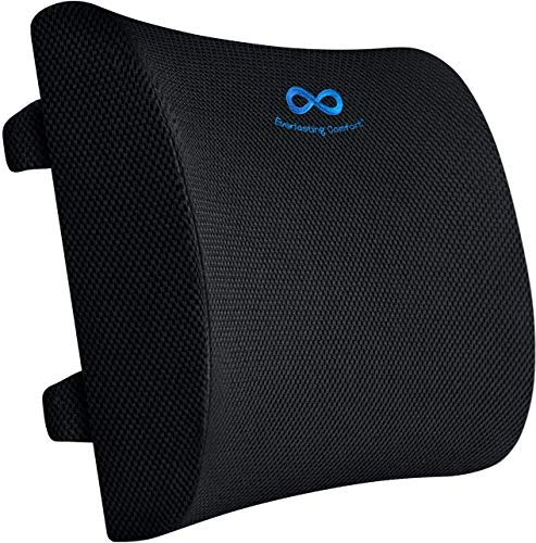 Everlasting Comfort Lumbar Support Pillow for Office Chair - Pure Memory Foam Lumbar Cushion for Car (Black)