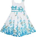Vestido para niña Azul Flor Doble Corbata de moño Fiesta Cumpleaños Verano Acampar 4-5 años
