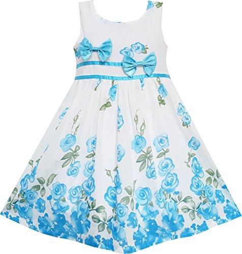 Sunny Fashion Mädchen Kleid Blau Blume Doppelklicken Krawatte Party Geburtstag Sommer Lager Gr. 140-146