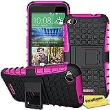 HTC Desire 320 Handy Tasche, FoneExpert® Hülle Abdeckung Cover schutzhülle Tough Strong Rugged Shock Proof Heavy Duty Hülle für HTC Desire 320 + Bildschirmschutzfolie (Rosa)