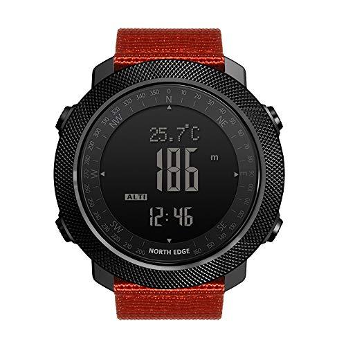 LICHUXIN Smart Sport Kompassuhr, 50m Wasserdicht Männer Sport Digitaluhr Multifunktions-Smart Watch Outdoor Sports Laufen Schwimmen Altimeter Barometer Kompass,Orange