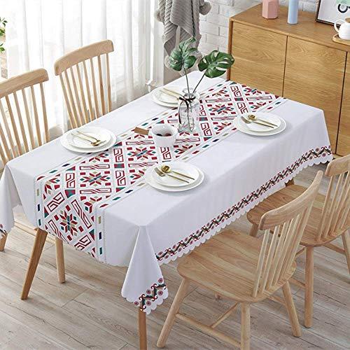 XIAOE PVC Wipe Clean Table Cloth Mantel de plástico Cubierta de Mesa de Vinilo Impermeable A Prueba de Aceite Polvo - Cubierta de Prueba Toalla Buffet Decoración Mesa de Comedor 135 * 180cm