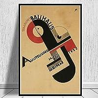 アートキャンバスプリントポスター、バウハウス1923モダンファミリーベッドルームインテリアポスター、キャンバスアートポスター、リビングルームの壁アート写真フレームなし-D_50X70Cm