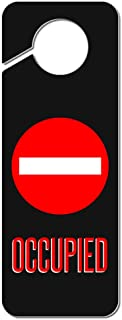 Graphics and More Occupied Red Circle Plastic Door Knob Hanger Sign