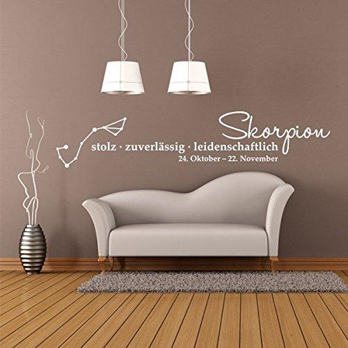 denoda® Skorpion - Sternzeichen Wandtattoo Braun 121 x 25 cm (Wandsticker Wanddekoration Wohndeko Wohnzimmer Kinderzimmer Schlafzimmer Wand Aufkleber)