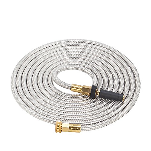 GRUNEN WOLKEN 100FT 304 Stainless Steel Metal Garden Hose with Solid Brass Nozzle - Solid Metal Fittings and Newest Spray Nozzle, Lightweight, Kink Free, Durable and Easy to Store (100FT)
