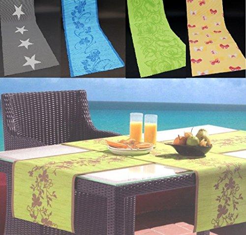 fashion and joy tuin tafelkleed tafelloper & placemat 4-delig - onderhoudsvriendelijk - antislip - wind- en weerbestendig - UV-bestendig - wasbaar - ftalaatvrij type 334 40x150 cm Tafelloper geel