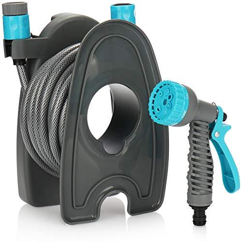 com-four® Bewässerungsset, 10m Gartenschlauch und Sprühpistole mit 7 Funktionen, tragbare leichte Trommel, für Wandmontage geeignet (Set04 - Schlauch 3-teilig)